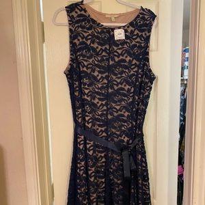 Formal Dress dark blue Lace overlay NWT